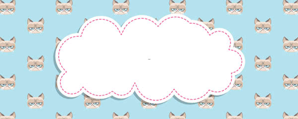 Grumpy Cat Blue Design Small Personalised Banner - 4ft x 2ft
