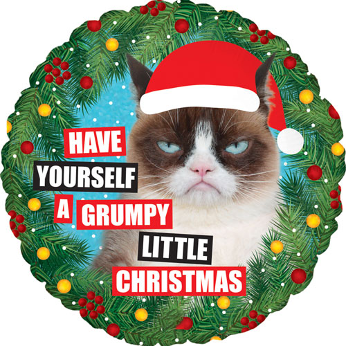Grumpy Cat Christmas Holographic Round Foil Helium Balloon 46cm / 18Inch Product Image