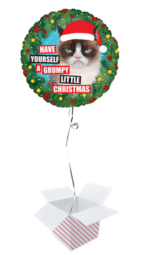 Grumpy Cat Christmas Holographic Round Foil Helium Balloon - Inflated Balloon in a Box Product Image