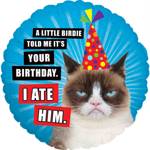 Grumpy Cat I Ate Him Holographic Round Foil Helium Balloon 46cm / 18Inch Product Image