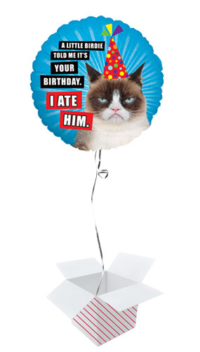 Grumpy Cat I Ate Him Holographic Round Foil Helium Balloon - Inflated Balloon in a Box Product Image