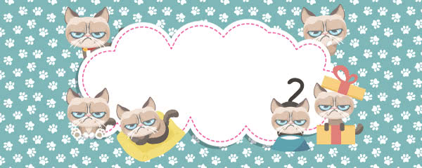 Grumpy Cat Paws Print Blue Design Medium Personalised Banner - 6ft x 2.25ft