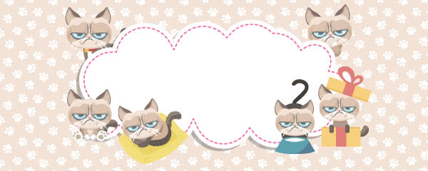 Grumpy Cat Paws Print Peach Design Small Personalised Banner - 4ft x 2ft