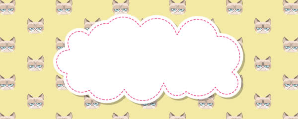 Grumpy Cat Yellow Design Medium Personalised Banner - 6ft x 2.25ft