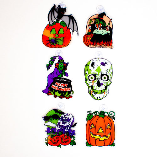 Halloween Assorted Stickers Window Decorations - Pack of 6