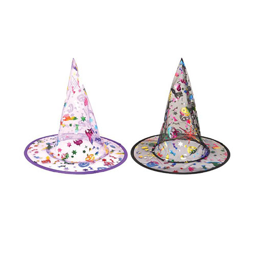 Halloween Assorted Foil Stamped Witch Hat for Kids