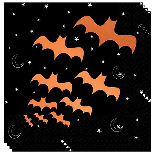 Halloween Bats Hot Stamped Luncheon Napkins 33cm 2ply - Pack of 16 Product Image