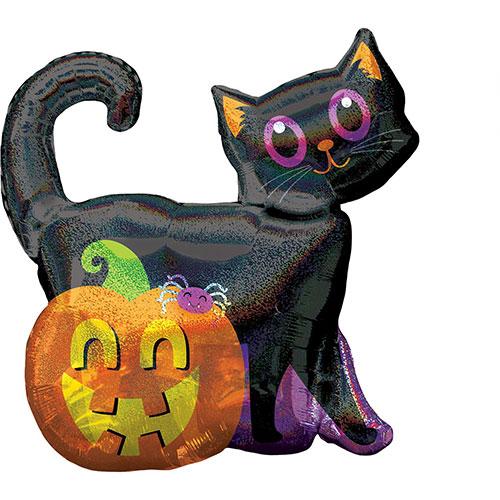 Halloween Black Cat & Pumpkin Holographic Helium Foil Giant Balloon 68cm / 27 in