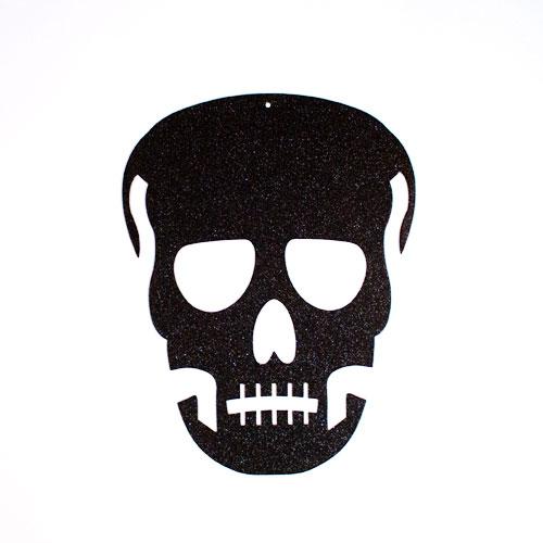 Halloween Black Glitter Skull Hanging Decoration 43cm Product Image