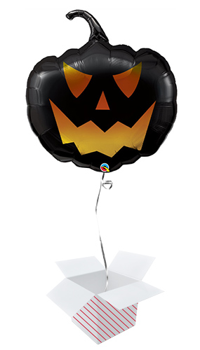 Halloween Black Jack Pumpkin Shaped Helium Foil Giant Qualatex Balloon - Inflated Balloon in a Box Product Image