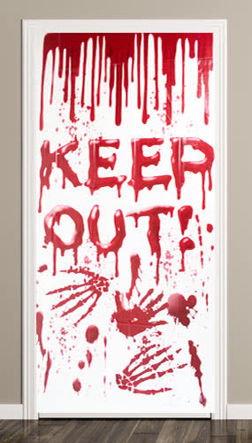Halloween Bloody Keep Out Scary Door Cover Product Image