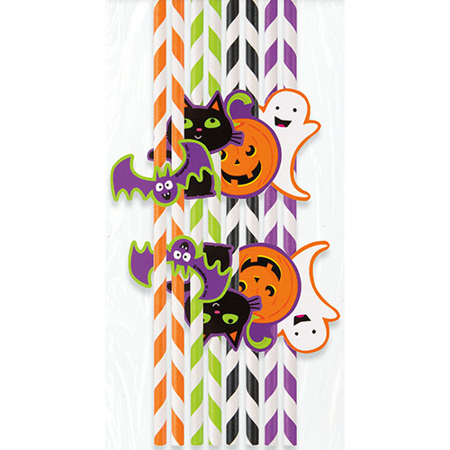 Halloween Characters Striped Paper Straws - Pack of 8 Product Image