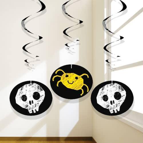 Halloween Checkered Hanging Swirl Decorations - Pack of 3