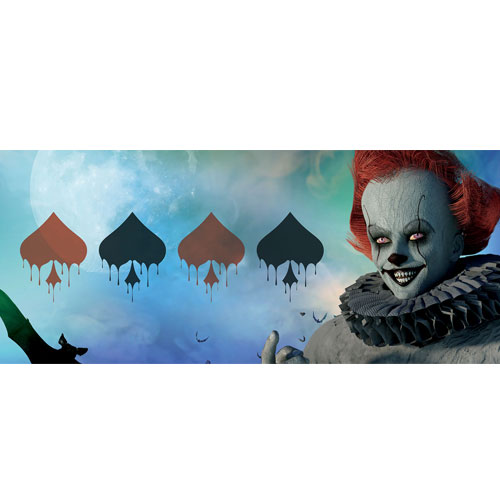 Halloween Clown Bloody Spades PVC Party Sign Decoration 60cm x 25cm
