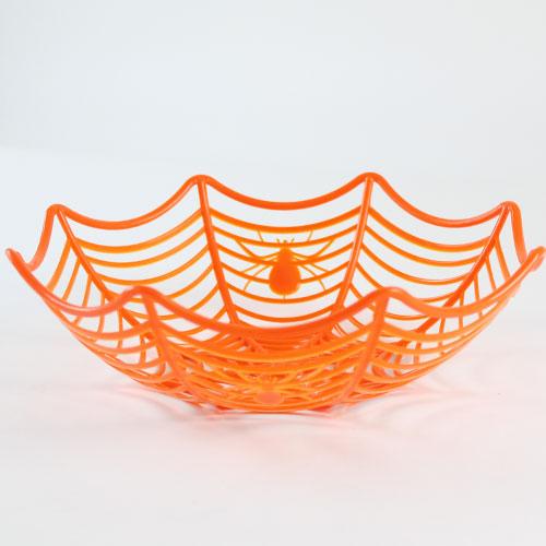 Halloween Orange Cobweb Reusable Plastic Basket 25cm Product Image