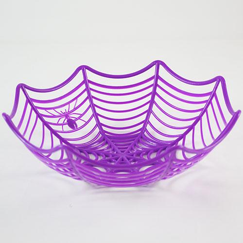 Halloween Purple Cobweb Reusable Plastic Basket 25cm Product Image