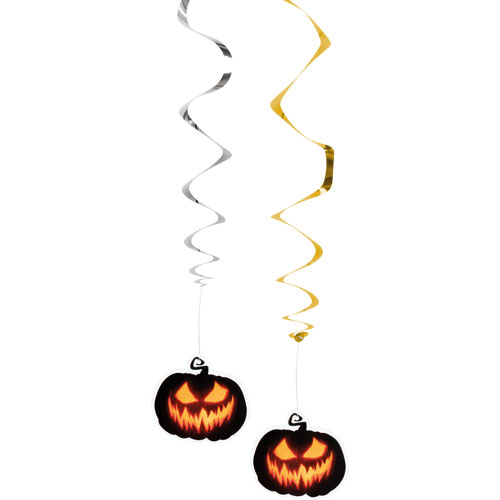 Halloween Creepy Pumpkin Hanging Foil Swirl Decorations - Pack of 2