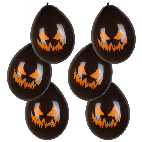 Halloween Creepy Pumpkin Latex Balloons 25cm / 10Inch - Pack of 6 Product Image
