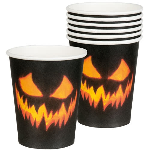 Halloween Creepy Pumpkin Paper Cups 250ml - Pack of 6 Product Image