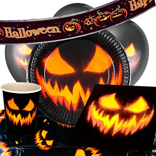 Halloween Creepy Pumpkin 6 Person Deluxe Party Pack