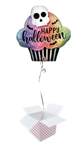 Halloween Cupcake Helium Foil Giant Qualatex Balloon - Inflated Balloon in a Box Product Image