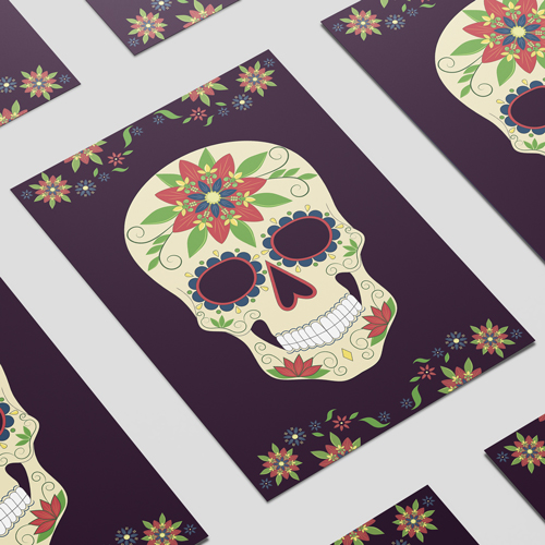 Halloween Day of the Dead Black A3 Poster PVC Party Sign Decoration 42cm x 30cm Product Image