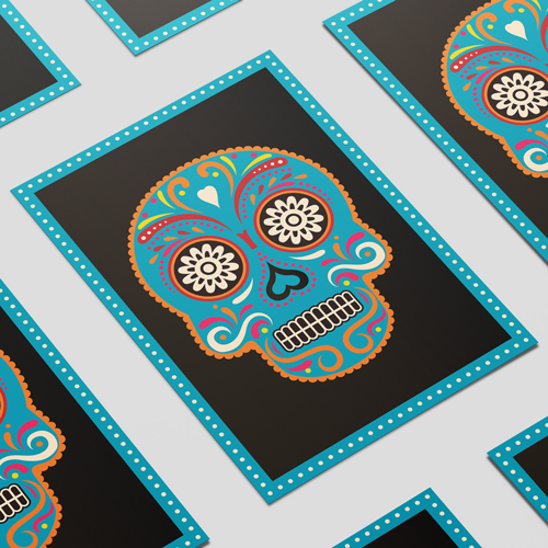 Halloween Day of the Dead Blue Skull A3 Poster PVC Party Sign Decoration 42cm x 30cm Product Image