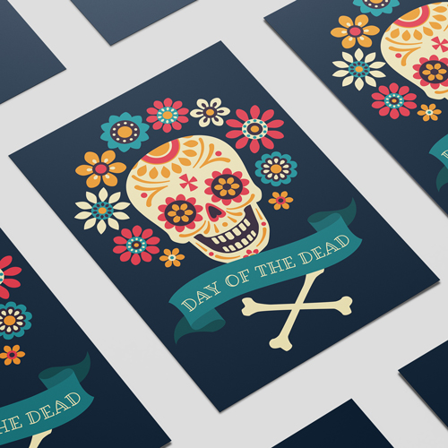 Halloween Day of the Dead Crossbones A3 Poster PVC Party Sign Decoration 42cm x 30cm Product Image