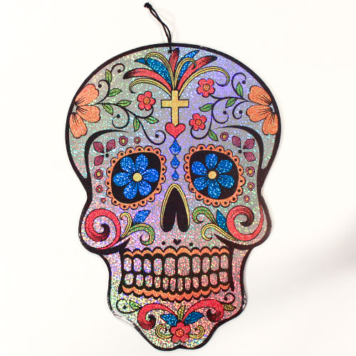 Halloween Day Of The Dead Holographic Plaque Hanging Decoration 40cm Product Image