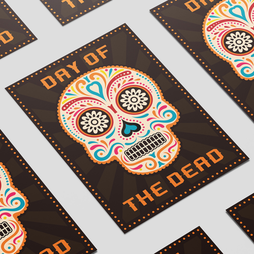 Halloween Day of the Dead Orange A3 Poster PVC Party Sign Decoration 42cm x 30cm Product Image