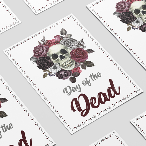 Halloween Day of the Dead Roses A3 Poster PVC Party Sign Decoration 42cm x 30cm Product Image
