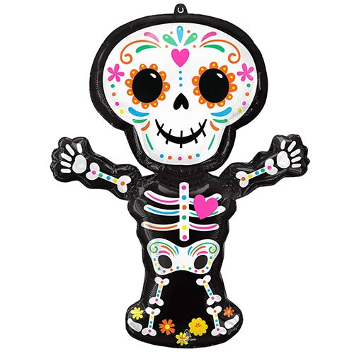 Halloween Day of the Dead Skeleton Helium Foil Giant Balloon 86cm / 34 in Product Image