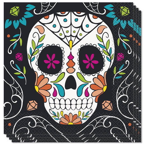 Halloween Day Of The Dead Skull Luncheon Napkins 33cm 2Ply - Pack of 20 Product Image