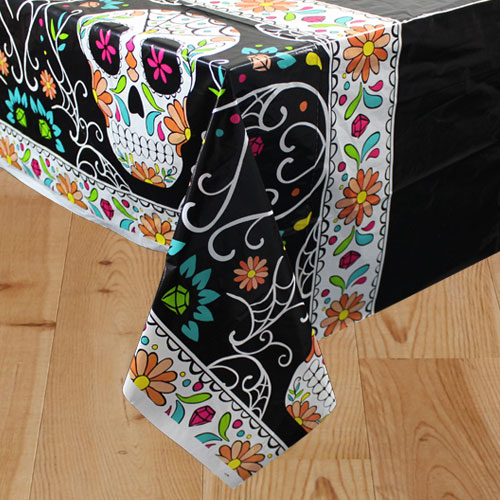 Halloween Day Of The Dead Skull Plastic Tablecover 213cm x 137cm Product Image