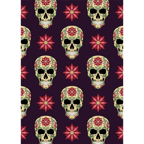 Halloween Day of the Dead Skulls & Flowers A3 Poster PVC Party Sign Decoration 42cm x 30cm Product Gallery Image