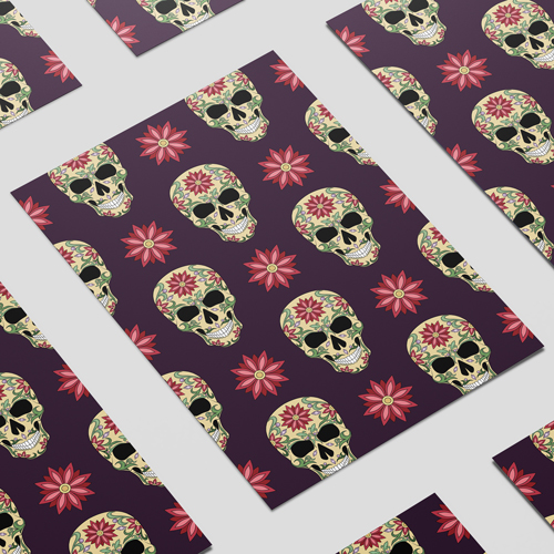 Halloween Day of the Dead Skulls & Flowers A3 Poster PVC Party Sign Decoration 42cm x 30cm Product Image