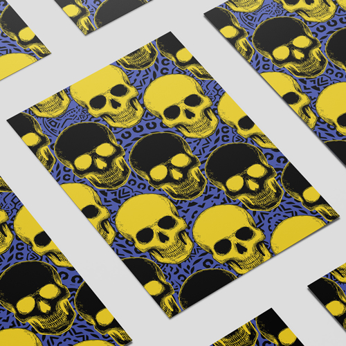 Halloween Day of the Dead Yellow Skulls A3 Poster PVC Party Sign Decoration 42cm x 30cm Product Image