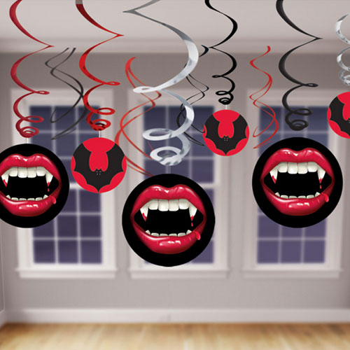 Halloween Fangtastic Hanging Swirl Decorations - Pack of 12