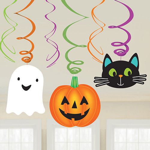 Halloween Friends Hanging Swirl Decorations - Pack of 6