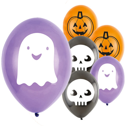 Halloween Ghost Friends Biodegradable Latex Balloons 23cm / 9 in - Pack of 6 Product Image