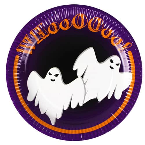 Halloween Ghost Paper Plates - Pack of 12