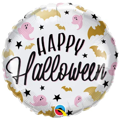 Halloween Glam Bats & Ghosts Round Foil Helium Qualatex Balloon 46cm / 18 in Product Image