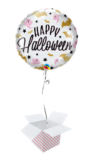 Halloween Glam Bats & Ghosts Helium Foil Qualatex Balloon - Inflated Balloon in a Box Product Image