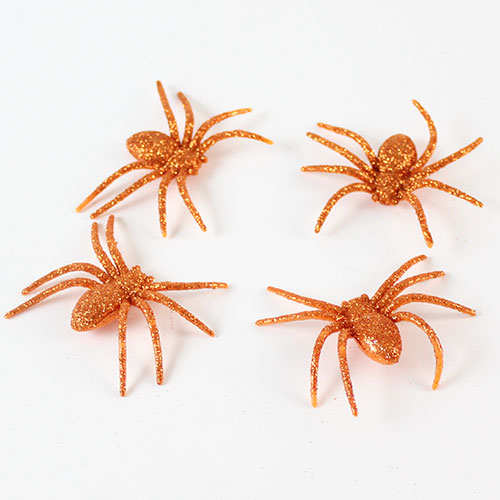 Halloween Decorative Orange Glitter Spiders - Pack of 4 Product Image