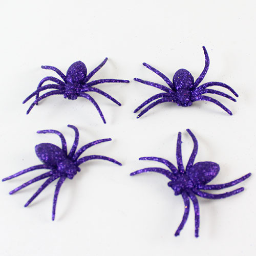 Halloween Decorative Purple Glitter Spiders - Pack of 4 Product Image