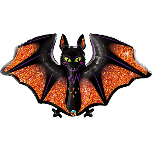 Halloween Glitzy & Glam Bat Shaped Helium Foil Giant Qualatex Balloon 127cm / 50 in Product Image