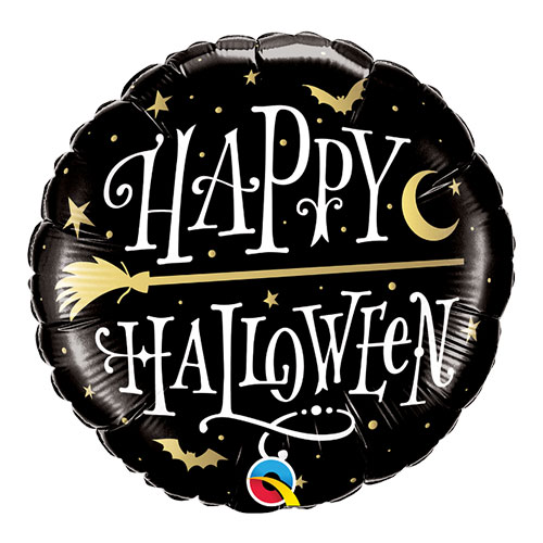 Halloween Golden Broomstick Round Foil Helium Qualatex Balloon 46cm / 18 in Product Image