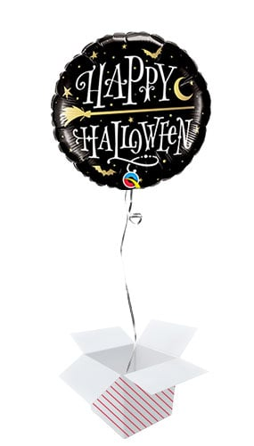 Halloween Golden Broomstick Round Foil Helium Qualatex Balloon - Inflated Balloon in a Box
