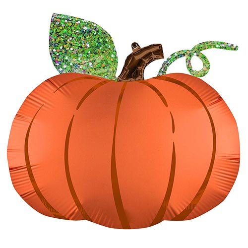Halloween Holographic Pumpkin Satin Infused Helium Foil Giant Balloon 63cm / 25 in Product Image