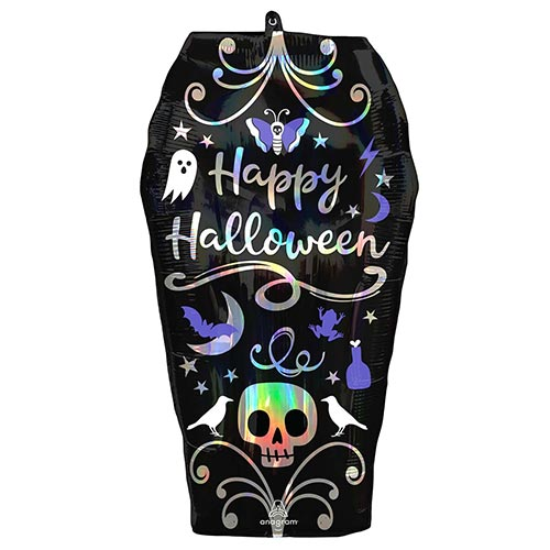 Halloween Iridescent Coffin Helium Foil Giant Balloon 68cm / 27 in Product Image